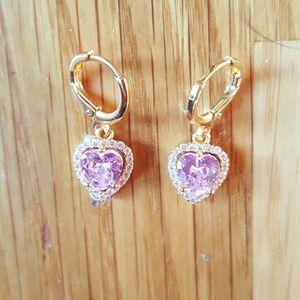 NWT Betsey Johnson Pink Crystal Heart Earrings